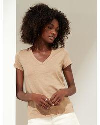 Banana Republic Petite Slub Cotton-modal V-neck T-shirt - Natural