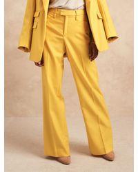 Banana Republic High-rise Wide-leg Italian Wool Pant - Yellow
