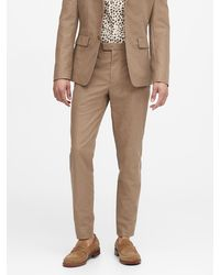 Banana Republic Slim Tapered Italian Cotton-linen Suit Pant - Natural