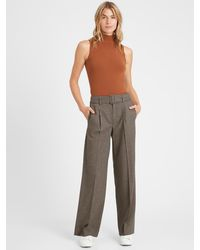 Banana Republic High-rise Slim Wide-leg Flannel Pant - Multicolor