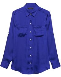 29ff4c2401ff Banana Republic Petite Dillon Classic-fit Sheer Clip-dot Tie-neck Shirt in  Blue - Lyst
