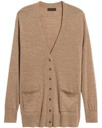 Banana Republic Petite Merino Long Cardigan Sweater In Responsible Wool - Natural
