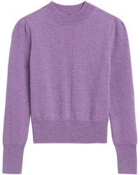 Banana Republic Cashmere Cropped Puff-sleeve Sweater - Purple