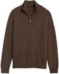 Banana Republic Italian Merino-blend Half-zip Sweater - Brown