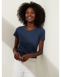Banana Republic Petite Slub Cotton-modal Crew-neck T-shirt - Blue