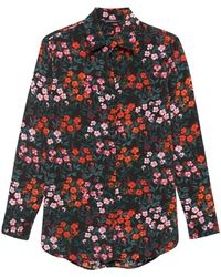 b83bf3a31d7b5 Lyst - Banana Republic Parker Tunic-fit Floral Washable Stretch Silk ...