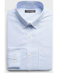 Banana Republic Slim-fit Non-iron Dress Shirt With Button-down Collar - Blue