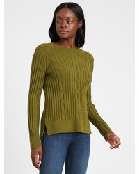 Banana Republic Chunky Cable-knit Sweater - Green