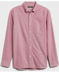 Banana Republic Untucked Standard-fit Oxford Shirt - Red