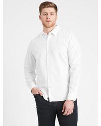 Banana Republic Untucked Slim-fit Non-iron Dress Shirt - White
