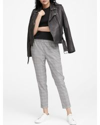 Banana Republic Hayden Tapered-fit Plaid Pull-on Ankle Pant - Gray