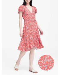 901559eb4f Banana Republic - Floral Soft Ponte Ruffle Wrap Dress - Lyst
