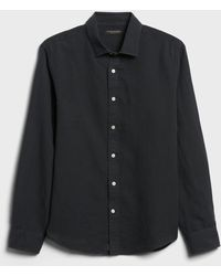 Banana Republic Untucked Slim-fit Linen-cotton Shirt - Black