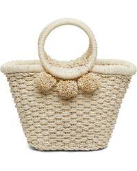 Banana Republic Pom Pom Straw Bucket Bag - Natural
