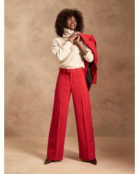 Banana Republic High-rise Wide-leg Italian Wool Pant - Red