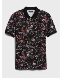 Banana Republic Don't-sweat-it Floral Polo Shirt - Black