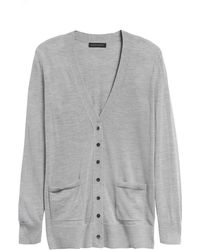 Banana Republic Merino Long Cardigan Sweater In Responsible Wool - Gray