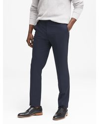 Banana Republic Slim Solid Wool Trouser - Blue