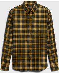 Banana Republic Untucked Standard-fit Flannel Shirt - Green