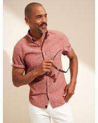 Banana Republic Untucked Relaxed-fit Linen-cotton Shirt - Pink