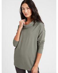 Banana Republic Petite Baby Terry Cowl Neck Sweatshirt - Green