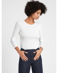 Banana Republic Petite Fitted Ribbed Long-sleeve T-shirt - White