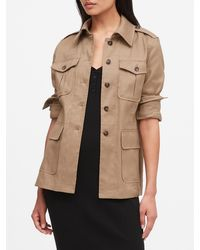 Banana Republic Linen-cotton Safari Jacket - Natural