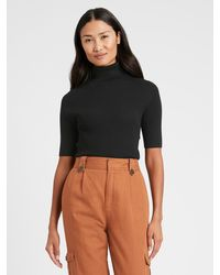 Banana Republic Fitted Turtleneck Sweater Top - Black