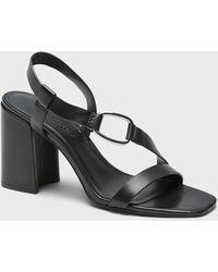 Banana Republic Leather Slip-on Block-heel Sandal - Black