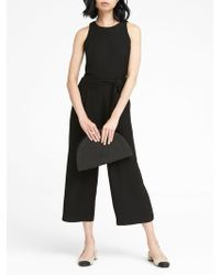 71ac902ab80f Banana Republic - Solid Cropped Wide-leg Jumpsuit - Lyst