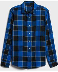 Banana Republic Untucked Slim-fit Cotton-tm Shirt - Blue