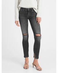 Banana Republic Petite Mid-rise Skinny Jean With Split Hem - Black