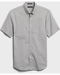 Banana Republic Slim-fit Tech-stretch Cotton Shirt - Grey