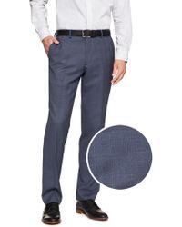 Banana Republic Factory Standard-fit Stretch Navy Plaid Trouser - Blue