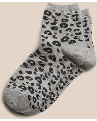 Banana Republic Factory Leopard Print Trouser Socks - Gray