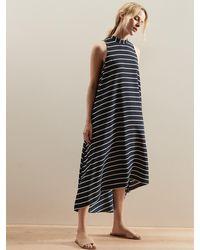 Banana Republic Factory Petite Halter Stripe Trapeze Maxi Dress - Blue