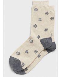 Banana Republic Factory Shine Snowflake Trouser Socks - Natural