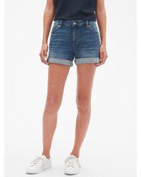 Banana Republic Factory Medium Wash Denim Roll-cuff Shorts - 4 Inch Inseam - Blue