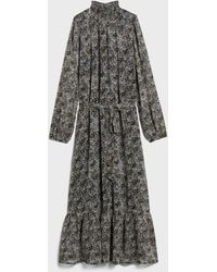 Banana Republic Factory Petite Smocked Maxi Dress - Gray