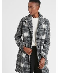 Banana Republic Factory Plaid Knit Wool Overcoat - Black