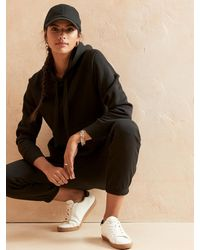 Banana Republic Factory Soft Fleece Hoodie Sweatshirt - Black