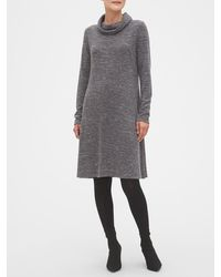 Banana Republic Factory Cozy Cowl-neck Fit-and-flare Sweater Dress - Gray