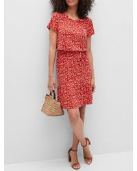 Banana Republic Factory Petite Flounce-hem Fit-and-flare Dress - Red