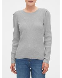 Banana Republic Factory Novelty Stitch Peplum Crew-neck Sweater - Gray