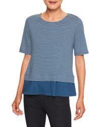 Banana Republic Factory - Stripe Ruffle Hem Designer T Shirt - Lyst