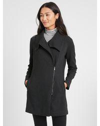 Banana Republic Factory Twill Moto Long Knit Jacket - Black