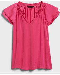 Banana Republic Factory Flutter-sleeve Top - Pink