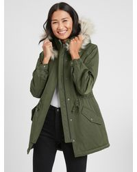 Banana Republic Factory Water-resistant Parka With Faux Fur Collar - Green
