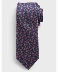 Banana Republic Factory Mini Floral Print Tie - Blue
