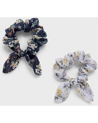Banana Republic Factory Small Bow Floral Print Scrunchie (2 Pack) - Blue